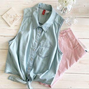Bundle. H&M Denim Top & Old Navy Stripe Shorts.